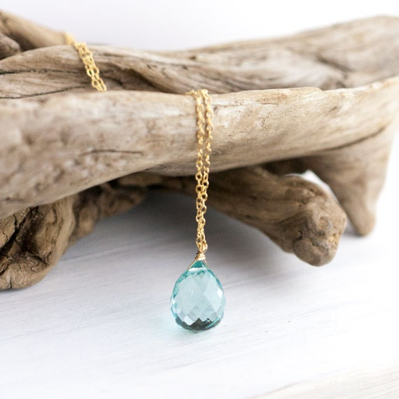 BLACK FRIDAY ETSY - Aqua Blue Stone Drop Necklace / Large Sparkly Blue Quartz Gemstone on Long Gold Filled Chain