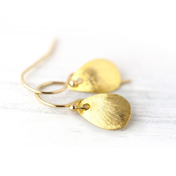 Tiny Brushed Gold Teardrop Earrings / Small Droplet Tear Drop Dangle Earrings / Gold Petals / Simple Gold Earrings