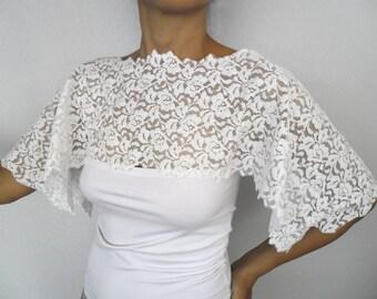 Bridal Lace Cape, Bridal Stole Wrap Capelet, Shabby Chic, Off White Cotton. Romantic Top Shrug. Handmade, unique design
