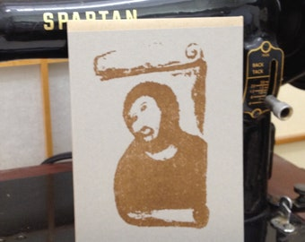 Flat A2 Card with Ecce Homo Beast Jesus