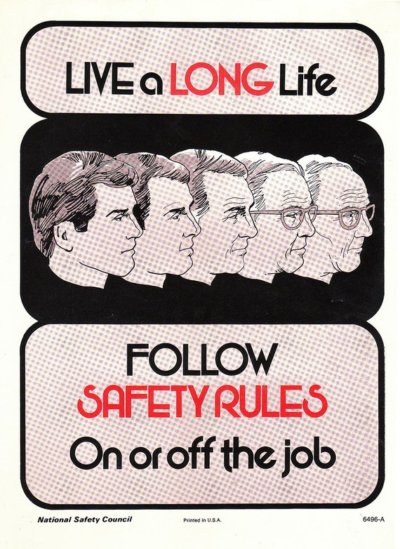 Vintage Work Safety Poster - Follow Safety Rules