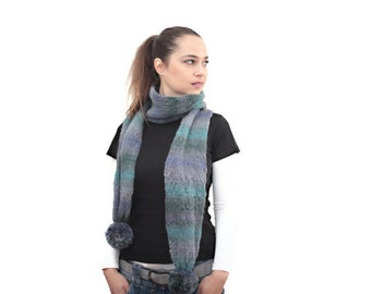 Knit Long Scarf Wool with Pompoms by Solandia, men, women, grey, teal, blue, unisex, Knitted Scarf, Knit Accessories