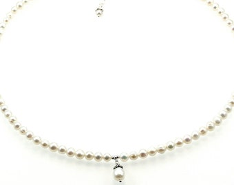 Girl's Sterling Silver and Freshwater Pearl Drop Pendant Necklace - Bridesmaid/Flower Girl