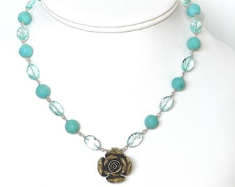 Aventurine, Aqua Crystal and Sterling Silver Rose Necklace