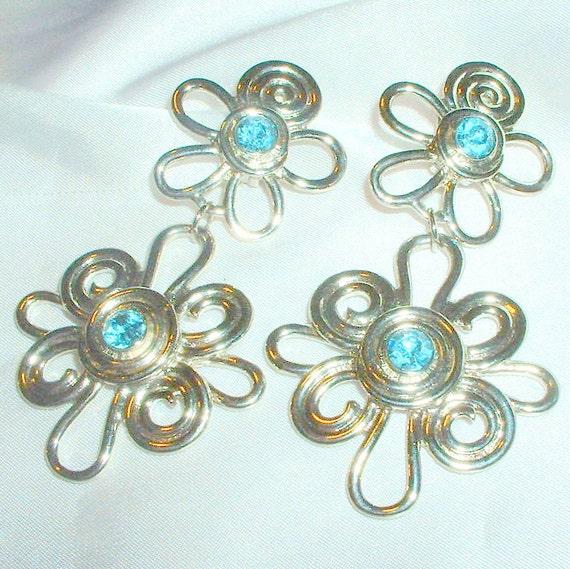 Vintage Avon Large Rhinestone Drop Earrings