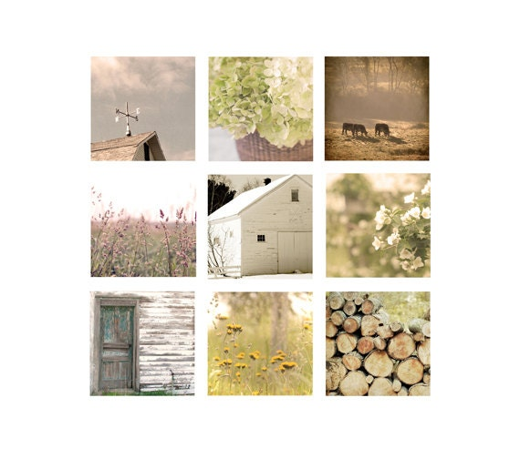 Farmhouse Home Decor Set, Rustic, wall art, Country Living Photos, farm home decor, soft, golden, cottage chic, floral, barn, cottage chic