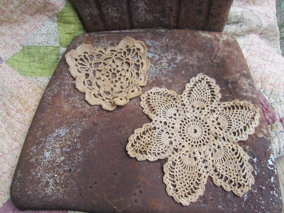 Grubby primitive country prim set of two doilies-TREASURY ITEM