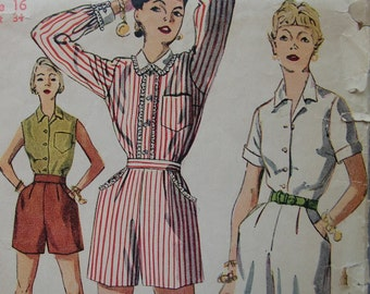 Fabulous Vintage 50's Misses Shorts and Blouse Pattern ROCKABILLY SUMMER BASICS