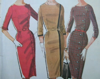 Fabulous Vintage 60's Misses Dress Pattern ASYMETRICAL WIGGLE DRESS