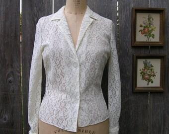 Vintage 50's JUST A PEEK Classic Lace Blouse