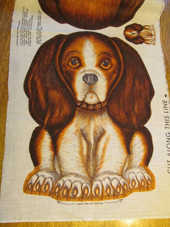 Super Kawaii 1960s VINTAGE Stuffed Beagle PUPPY Dog Fabric Panel