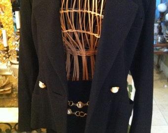 Ann Klein 2pc. Suit Jacket and Skirt with Pearl Buttons and Gold Chain Belt