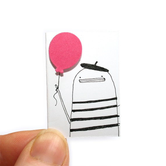 Miniature Greeting Card and Tiny Envelope, Bonjour French Poosac with Beret and Pink Balloon