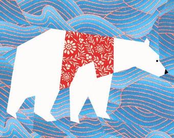 Christmas Polar Bear quilt block, paper pieced quilt pattern, PDF pattern, instant download, bear pattern, Christmas pattern