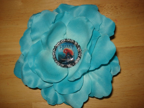 Brave Inspired Flower Hair Clip-Blue Rose-4 Inches-Ready To Ship