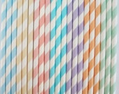 25 RAINBOW PASTEL Stripe Paper Straws DIY Flags Paper Drinking Straws Princess Cake Pop Sticks Party Paper Straws Elegant - DimeStoreBuddy