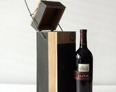 Modern Meets Rustic Painted Wine Tote - Cedar Gift Box  with Mechanical Handle - Sleek Lines, Vineyard Wedding Gifts, For Wine Lovers