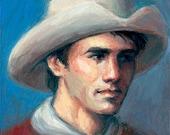 Earnest Cowboy 5x5 inch original oil painting.