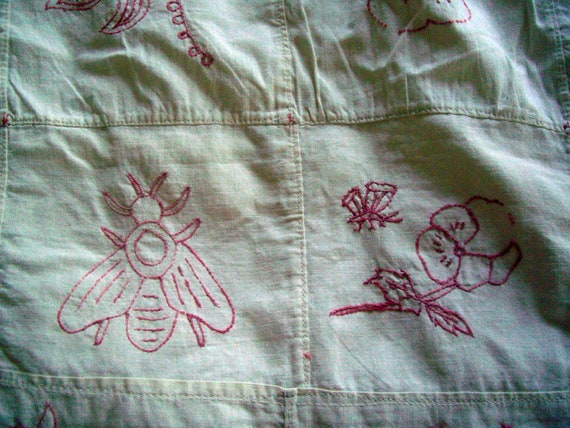 Anitque primitive redwork Summer coverlet single bed Spanish church Botanical animals Bees Pansies 119 squares Christmas craft