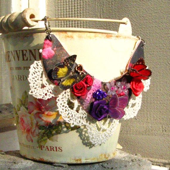 Divine garden - flowers and butterflies bib necklace