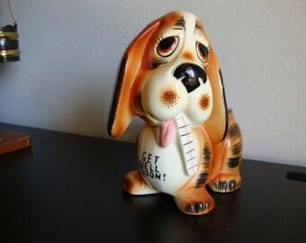 Lefton Ceramic Planter, Basset Hound Planter, Dog, Anima,l Get Well Soon Gift Planter