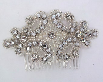 rhinestone bridal hair comb - Oriane