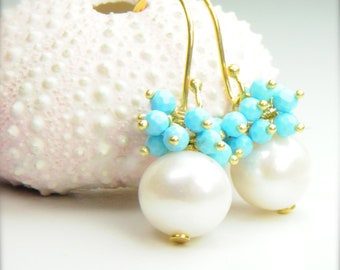 Pearl and Turquoise Cluster Earrings for Brides:, Bridal Pearl Earrings, Bridal Jewelry and Earrings