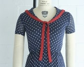 vintage sheer layered polka dot sailor dress 1980s replica of 1940's style Size Small 34 bust