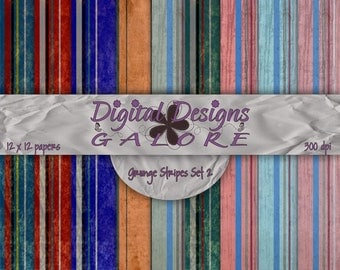 Grunge Stripe Set 2 Digital Paper Pack Set of 9 - Commercial and Personal Use - Digital Designs Galore