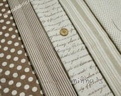 Linen Cotton Blended Fabric - Stripe/Dots/Letters (brown)- half yard(43in x 19in) - LF159