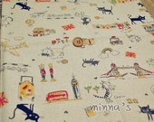 Linen Cotton Blended Fabric - Kawaii Cat In London (black/yellow) - Fat Quarter(27in x 19in) - LF368
