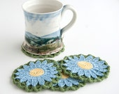 Coasters // Hand Crocheted // Blue Marguerite Daisy // Housewarming Gift // Gift for the Home // Wedding Shower Gift