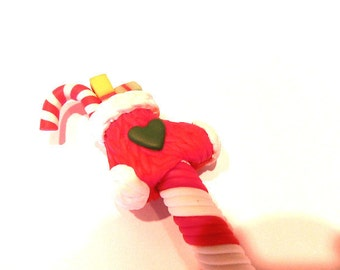 New Cute Fimo Polymer Clay Winter Christmas Shoe Stocking Candy Cane Pen