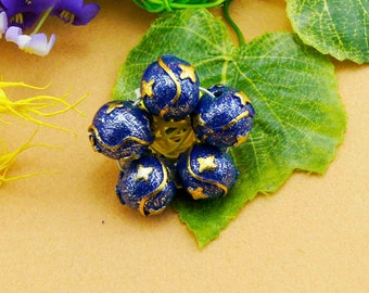5 Beautiful Handmade Blue with gold stars Round Beads 25mm