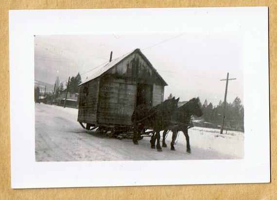 Moving Again - Home Away From Home - A Horse Drawn Cabin On the Skids - B&W photo circa 1915
