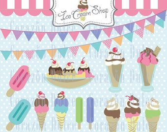 INSTANT DOWNLOAD  Ice cream shop - Personal and Commercial Use Clip Art:Originals design elements