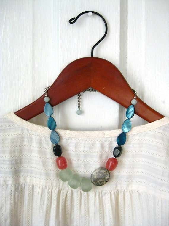 Chunky Stone Necklace, Anthropologie Inspired, Asymmetrical