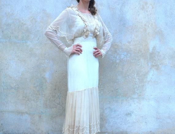 Reserved for Bonnie Early 1920's sheer Edwardian ivory dress- 20's Boardwalk Empire wedding dress- small / medium