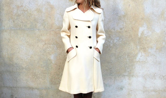Reserved for Torunn 1960s Seymour Fox Paris New York coat -  Mod double breasted classic ivory wool jacket - medium