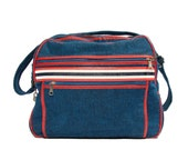 Vintage Train Bag in Red White and Blue Travel Tote Carry All