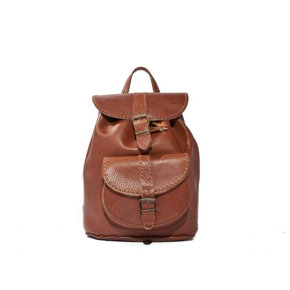 Mini Backpack in Brown Leather Boho Drawstring Bucket Back