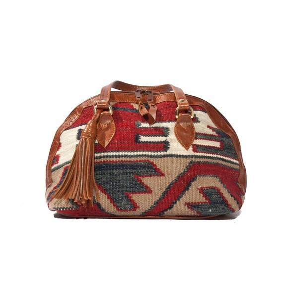 Vintage Kilim Hand Bag Southwestern Style with Fringe Leather Tassel