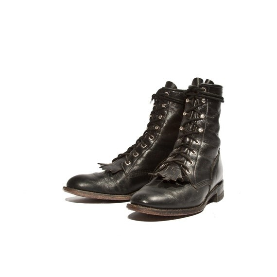 s lace up justin roper boots black leather kiltie