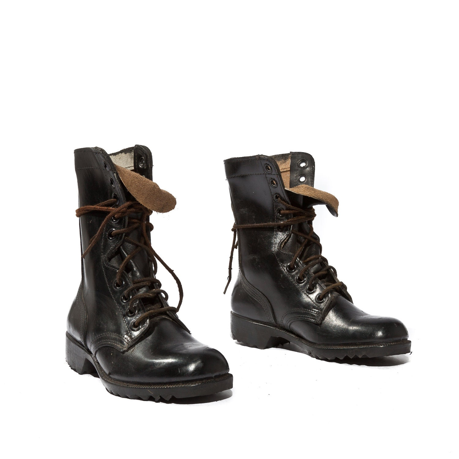 1981 Standard Issue Combat Boots Jet Black Leather Military