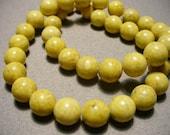 Fossil Beads Gemstone Yellow Round  10MM