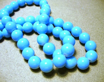 Glass  Beads Blue Round 10MM