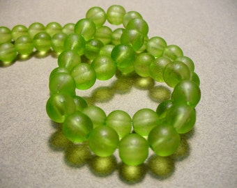 Beach Glass Beads Green Frosted 10MM