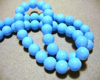 Glass Beads Blue  Round 8MM