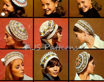 PDF Knitting Patterns For 5 Styles Fair Isle Ladies and /Girls Tammies - Tam O'Shanters or Berets - Instant Download