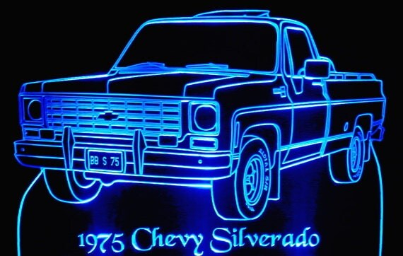 "1975  Pickup Silverado Acrylic Lighted Edge Lit LED Truck Sign  13"" VVD1 Full Size USA Original"
